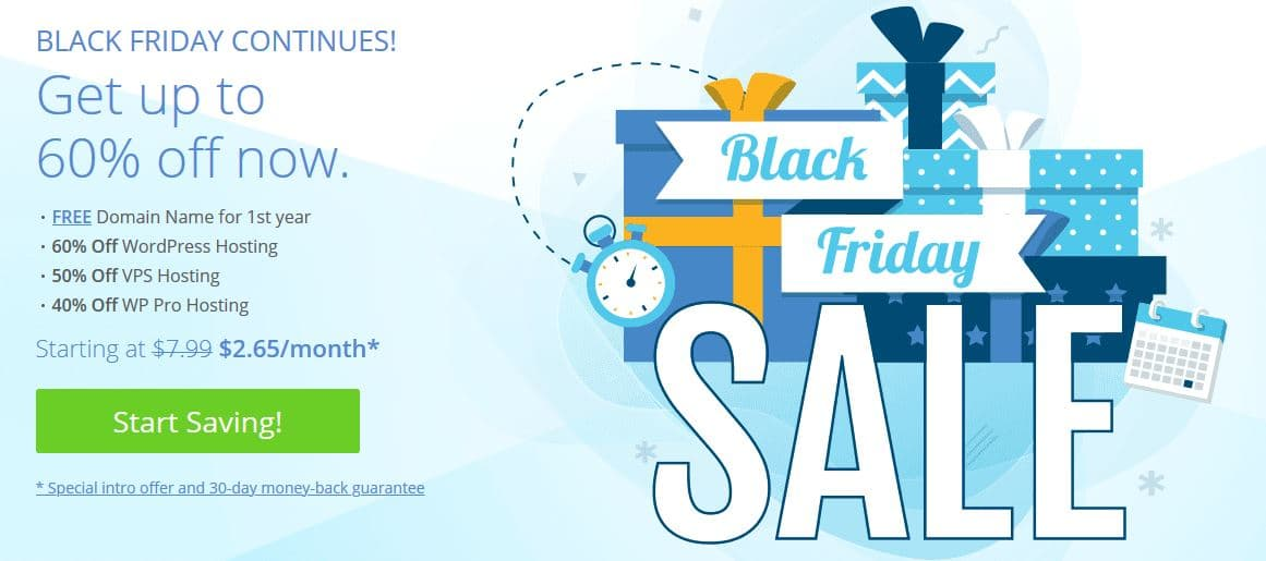 Bluehost Black Friday 2019 - 60% Discount, Live Now