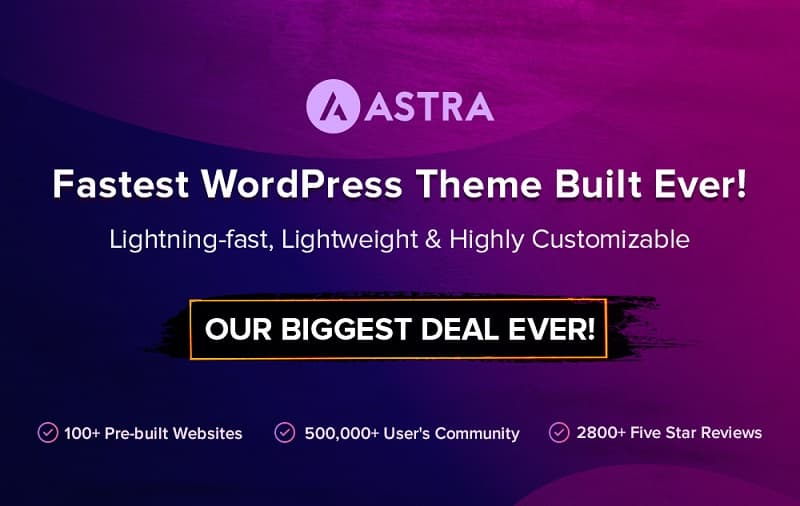 Astra Theme Black Friday Sale 2020 - Get 30% Discount on All Plans & Payment Modes