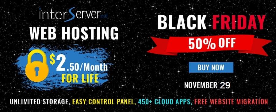 InterServer Black Friday Sale 50% Discount on Hosting