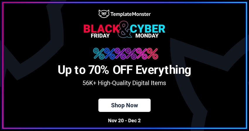 Template Monster Black Friday Sale, 70% Discount!